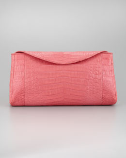 Nancy Gonzalez Crocodile Chain Clutch Bag, Pink