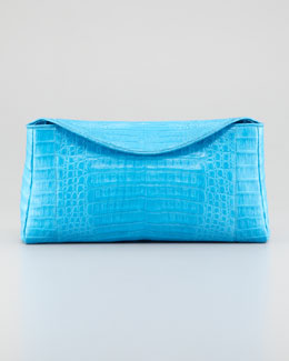 Nancy Gonzalez Crocodile Chain Clutch Bag, Blue
