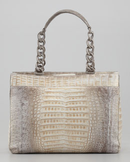 Nancy Gonzalez Crocodile Chain-Strap Tote, Gray
