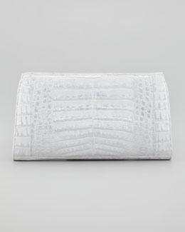Nancy Gonzalez Metallic Crocodile Clutch Bag, Silver/White