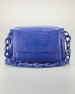 Nancy Gonzalez Crocodile Chain Shoulder Bag, Blue