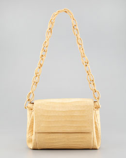 Nancy Gonzalez Crocodile Chain Shoulder Bag, Butter