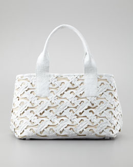 Nancy Gonzalez Cutout Crocodile Tote Bag, White