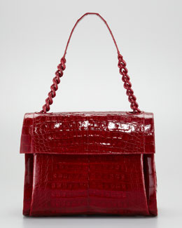 Nancy Gonzalez Crocodile Chain Shoulder Bag, Shiny Red