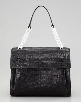 Nancy Gonzalez Crocodile Chain Shoulder Bag, Black/White