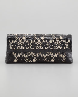 Nancy Gonzalez Crocodile Fold-Over Flower Clutch Bag, Black