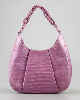 Nancy Gonzalez Crocodile Chain Hobo Bag, Lilac