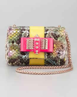 Christian Louboutin Sweet Charity Python Bow Clutch Bag