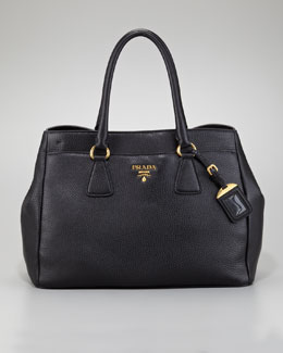 Prada Front-Pocket Daino Leather Tote Bag, Black
