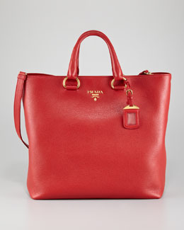 Prada Daino Pebbled Leather Tote Bag, Rosso