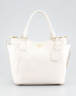 Prada Daino Double-Pocket Tote Bag, Talco