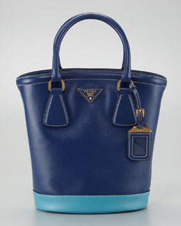 Prada Saffiano Bicolor Bucket Bag, Bluette/Turchese