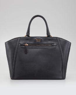 Prada City Calfskin Zip-Pocket Tote Bag, Nero