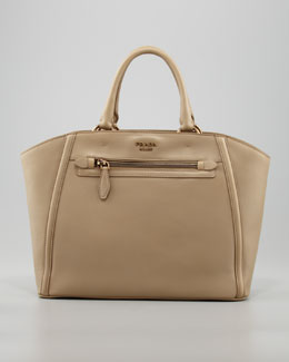 Prada City Calfskin Zip-Pocket Tote Bag, Visone