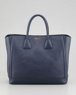 Prada City Calf Large Tote Bag, Baltico
