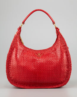 Prada Madras Small Hobo Bag, Lacca