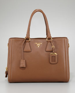 Prada Cervo Center Zip Tote Bag, Cammello