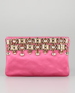 Prada Jeweled Satin Clutch Bag, Fuchsia