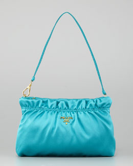 Prada Ruched Satin Small Shoulder Bag, Pavone