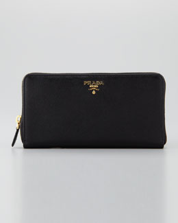 Prada Saffiano Large Zip-Around Wallet, Nero