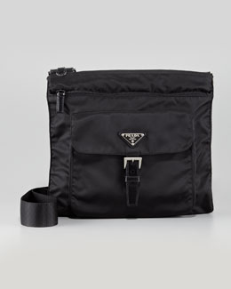Prada Vela Nylon Messenger Bag, Black