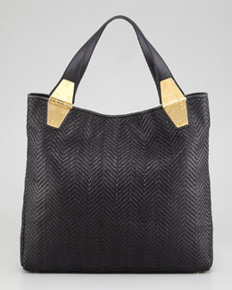 Tom Ford Natasha Black Woven Calfskin Tote Bag