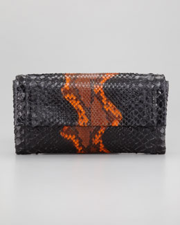 Nancy Gonzalez Python Clutch Bag, Orange