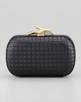 Diane von Furstenberg Lytton Quilted Leather Clutch Bag, Black
