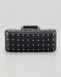 Diane von Furstenberg Tonda Studded Leather Clutch Bag, Black