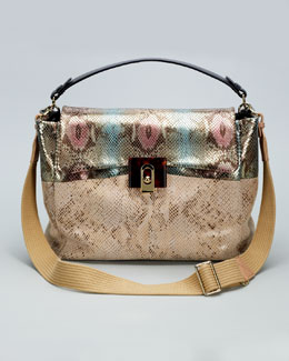 Lanvin For Me Snake-Embossed Medium Bag, Pink