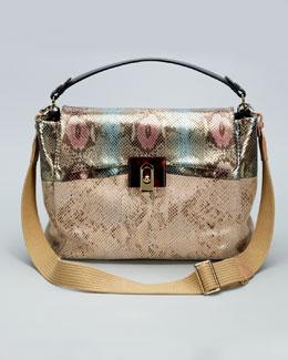 Lanvin For Me Snake-Embossed Medium Bag, Pink