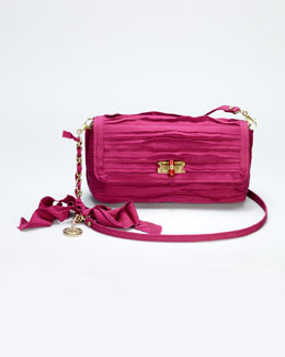 Lanvin Happy Small Plisse Shoulder Bag, Fuchsia