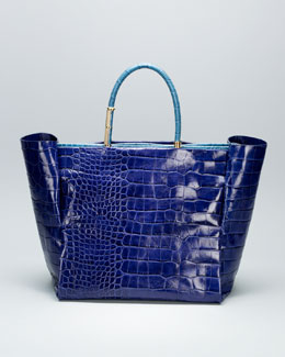 Lanvin Moon River Crocodile-Embossed Tote Bag