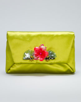 Lanvin Mai Tai Flower-Front Satin Clutch Bag, Green