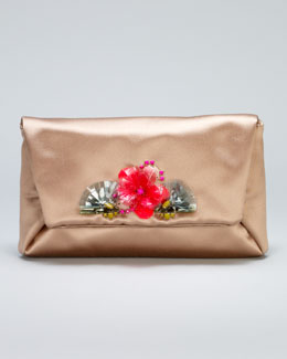 Lanvin Mai Tai Flower-Front Satin Clutch Bag, Honey