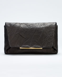 Lanvin Mai Tai Crinkled Lambskin Clutch Bag, Black