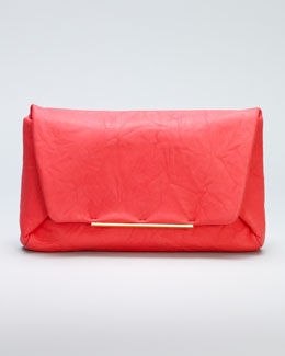 Lanvin Mai Tai Crinkled Lambskin Clutch, Poppy Red