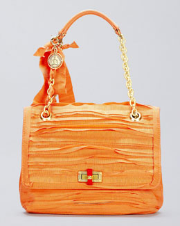 Lanvin Happy Medium Plisse Shoulder Bag, Salmon