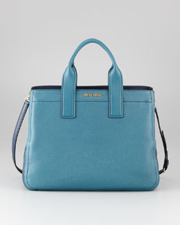 Miu Miu Vitello Bicolore Satchel Bag, Ottanio-Bluette