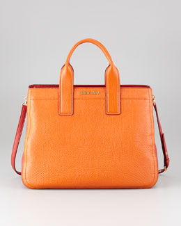 Miu Miu Vitello Bicolore Satchel Bag, Papaya-Rosso