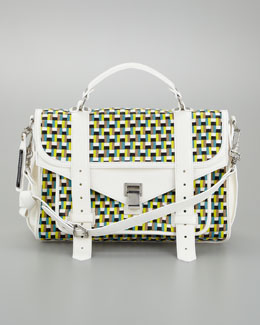 Proenza Schouler PS1 Woven Leather Medium Satchel Bag, Sunshine/White