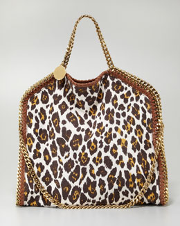 Stella McCartney Falabella Fold-Over Leopard-Canvas Tote Bag