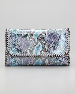 Stella McCartney Falabella Faux Python Clutch, Navy