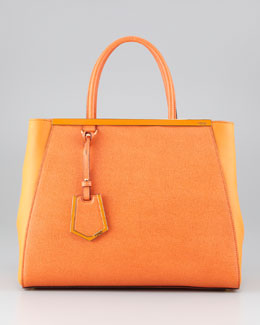 Fendi 2Jours Vitello Elite Tote Bag, Orange