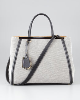 Fendi 2Jours Medium Canvas Tote Bag, Black/White