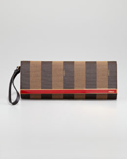 Fendi Rush Pequin Striped Pouchette Wristlet Bag