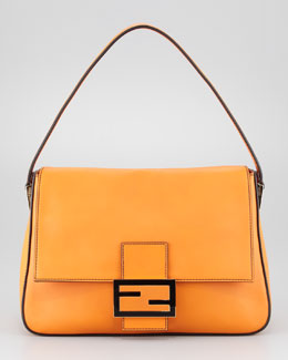 Fendi Big Mama Zucca-Flap Large Shoulder Bag, Orange