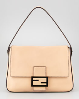 Fendi Big Mama Zucca-Flap Large Shoulder Bag, Barley