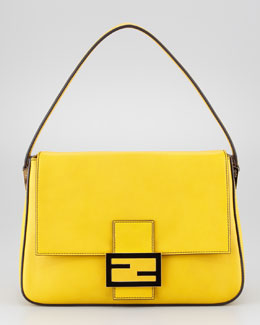 Fendi Big Mama Zucca-Flap Large Shoulder Bag, Chantilly