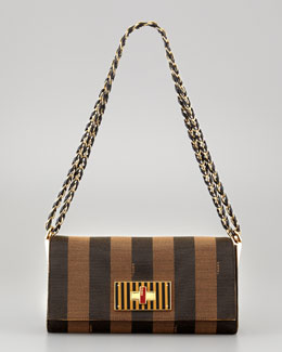 Fendi Claudia Pequin Striped Small Shoulder Bag